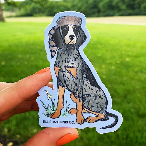 Coon Dog and Cap - Small Vinyl Sticker