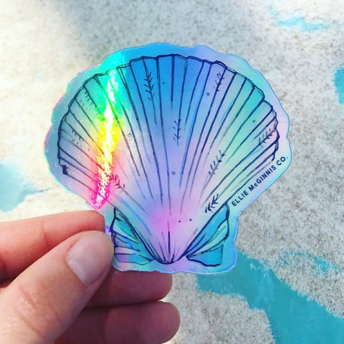 Holographic Queen Scallop Shell Vinyl Sticker - Small