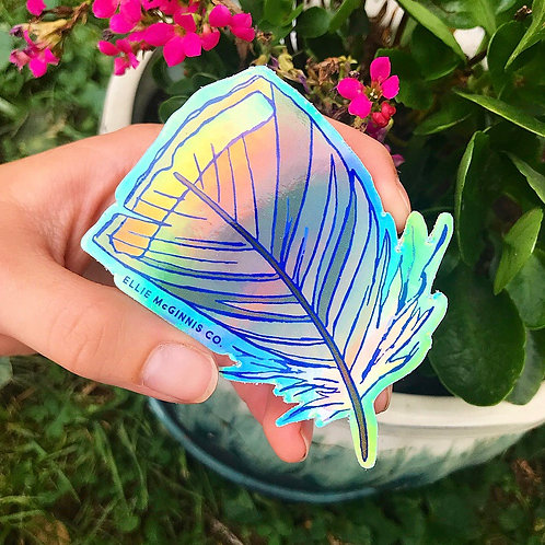 Holographic Vinyl Turkey Feather - Small