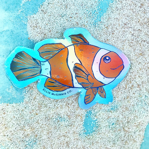 Holographic Clownfish Vinyl Sticker - Small