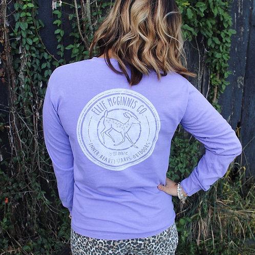 Logo Long Sleeve - Violet & White