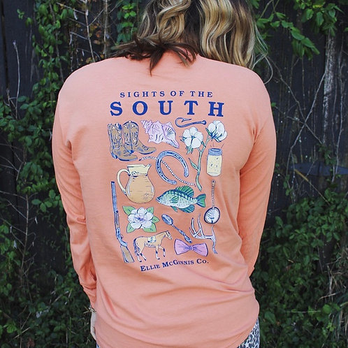 Sights of the South - Long Sleeve on Terracotta