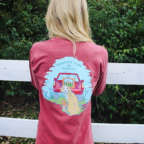 Tailgate Time - Long Sleeve on Cranberry