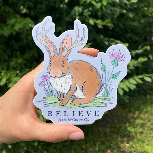 Small Believe Jackalope Sticker