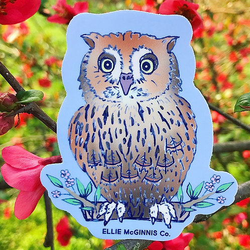 Small Screech Owl Vinyl Sticker