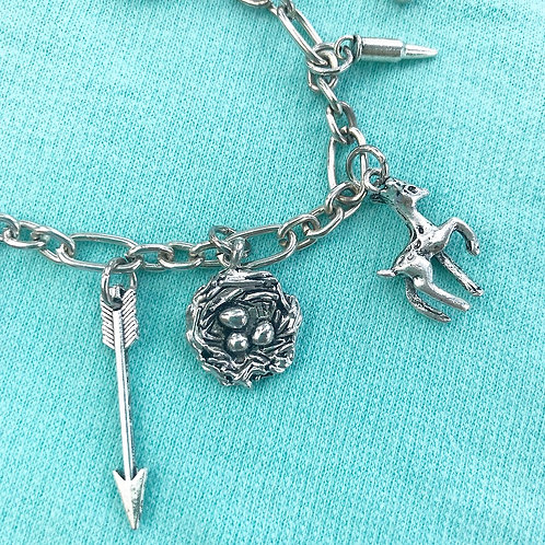 Hunting Themed Silver Charm Bracelet