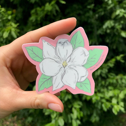 Small Magnolia on Pink Sticker