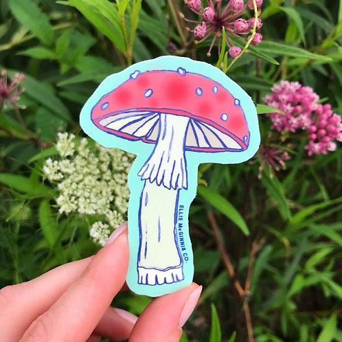 Red Mushroom Vinyl Sticker