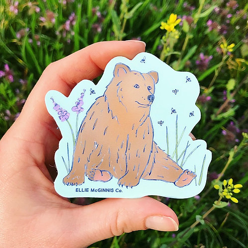 Small Brown Bear and Honey Bees Vinyl Sticker