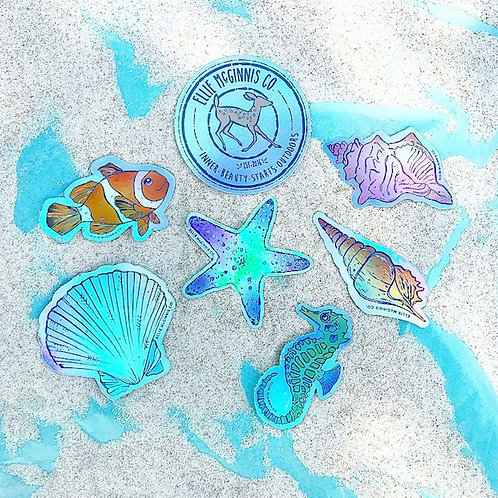 Holographic Ocean Themed Sticker Pack