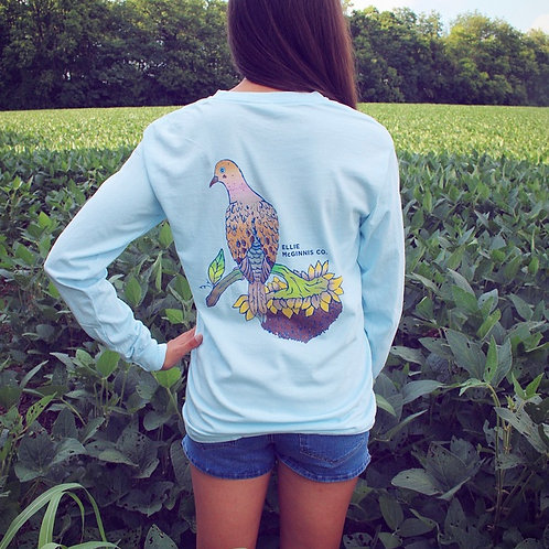 Morning Dove Long Sleeve on Sky Blue