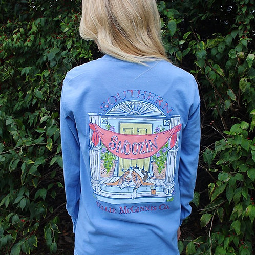 Snoozin' - Long Sleeve on Periwinkle