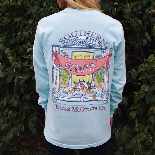 Snoozin' - Long Sleeve on Sky Blue