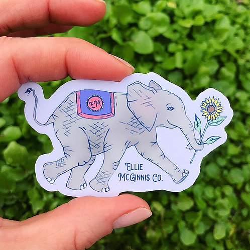 Happy Elephant Small Vinyl Sticker