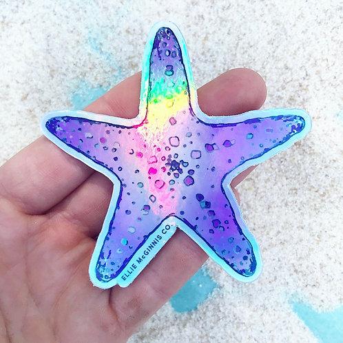 Holographic Starfish Vinyl Sticker - Small