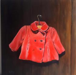 My coat 30 x 30 oil on panel