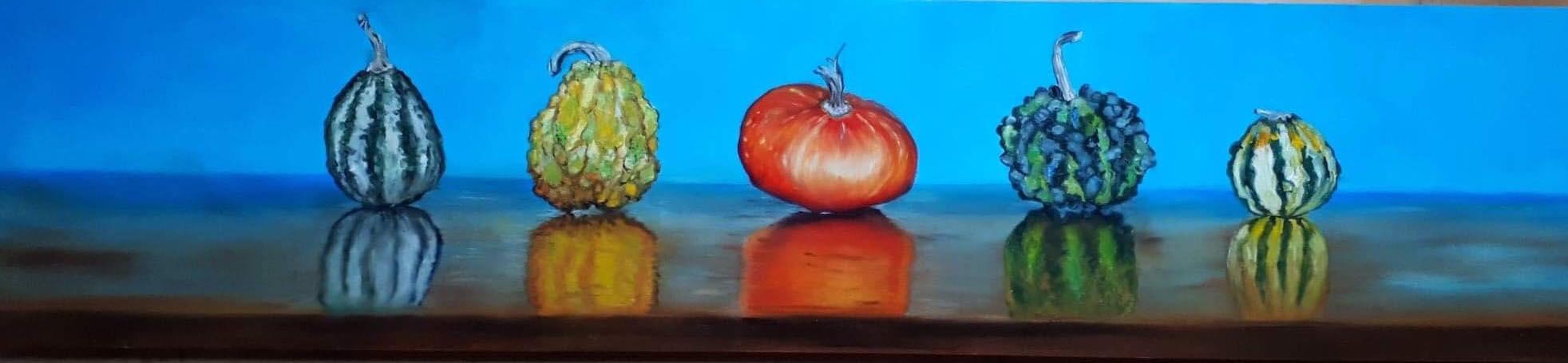 Pumpkins 90 x 21 cm oil on panel