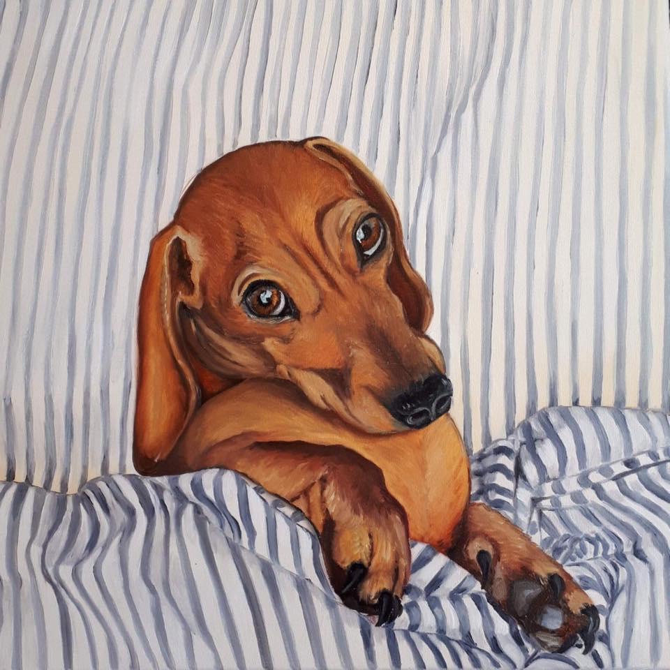 Good morning 30 x 30 cm oil on 3D canvas