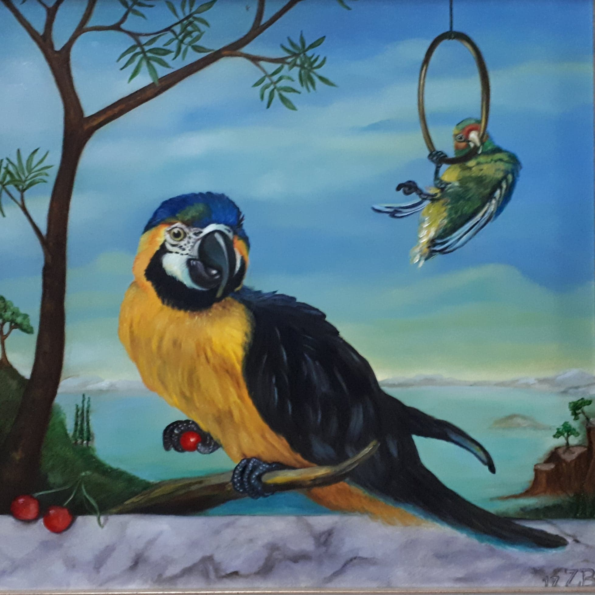 naar Melchior d'Hondecoeter 30 x 30 oil