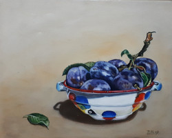 Plums from Santovka 30 x 25 cm oil on ca