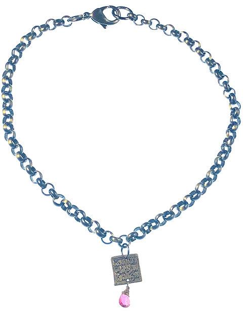 Pink Tourmaline Bronze Charm Necklace