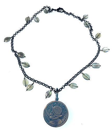 Bronze Coin + Labradorite Necklace