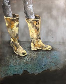 """Untitled  20""""X16"""". Oil on plaster on woo"""