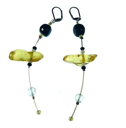 Amber + Gemstone Earrings