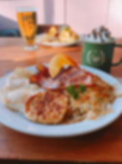 Fried eggs with bacon and hashbrown Hoyne Beer Eggs Benidict