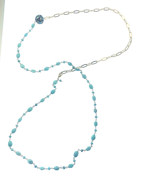 Vermeil Necklace w/Turquoise Gemstone Chain