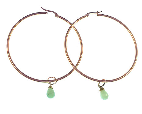 Hoop Earrings w/ Peruvian Opal Drop