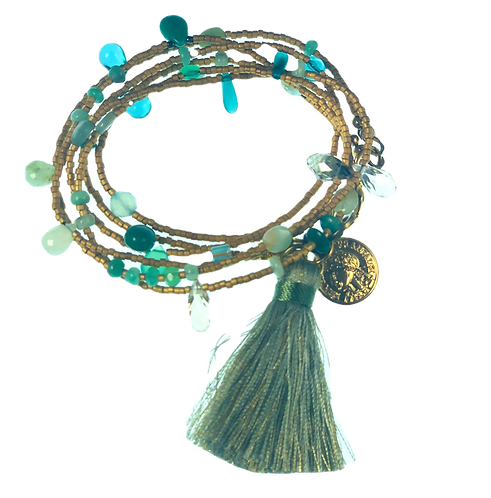 Wrap Bracelet/Necklace with Tassel