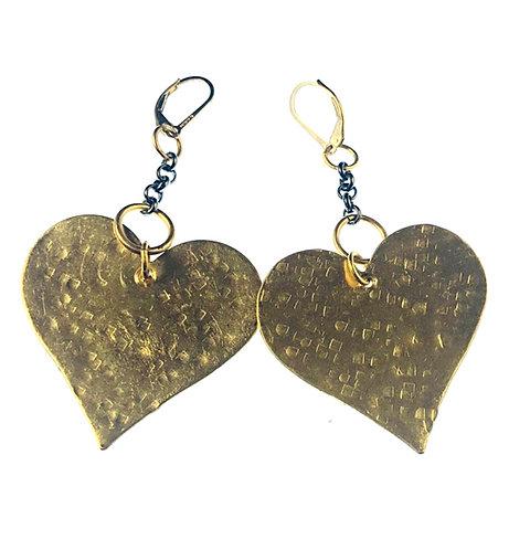 Hammered Bronze Heart Earrings