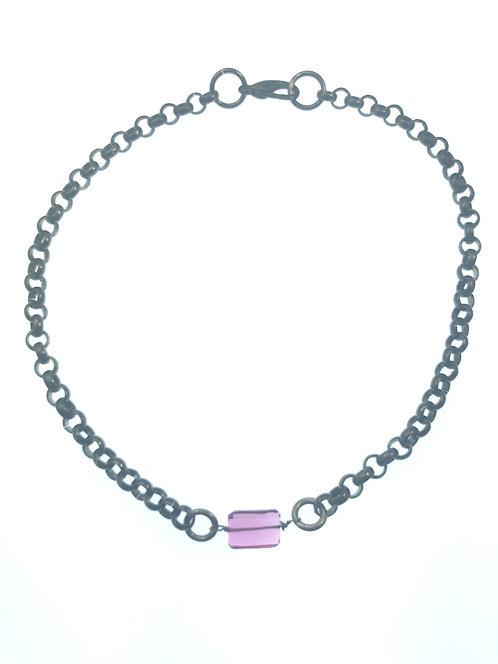 Black Rolo Chain Necklace w/ a Pink Quartz