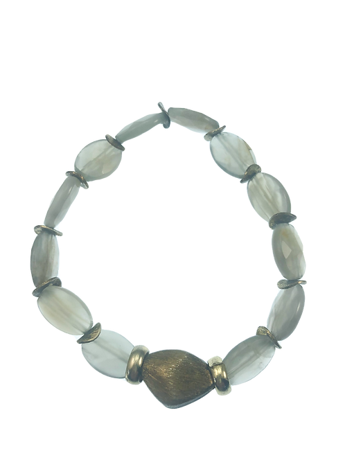 Grey Moonstone + Labradorite Stretchy Bracelet