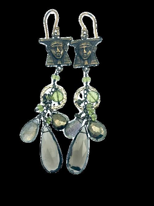 Egyptian Charm +Gemstone  Earrings