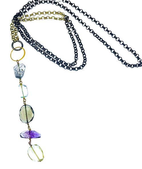 Necklace w/ Amethyst, Rutilated Quartz, Smoky Quartz, Blue Quartz, Pear Quartz