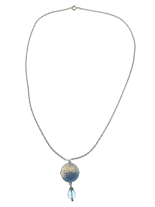 14K Gold Fill Chain w/ Bronze Charm + Sky Blue Topaz