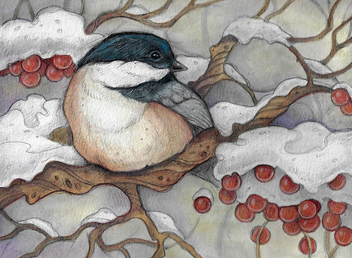 Winter Chickadee Lisa Ferguson Design