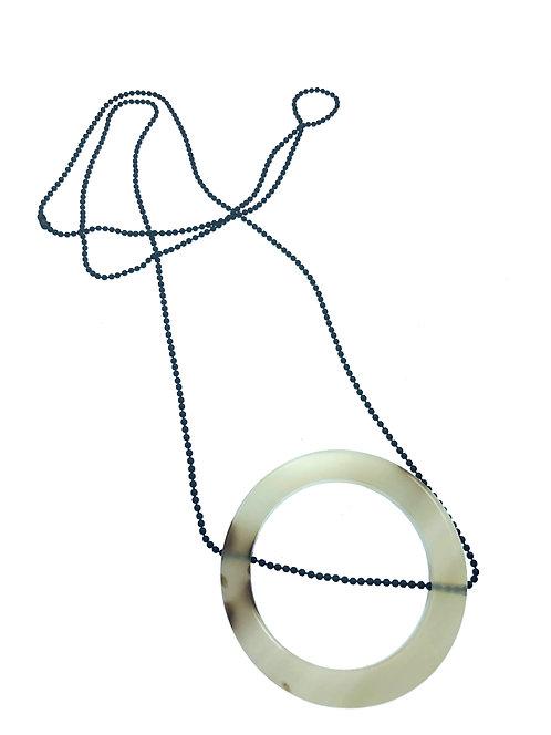 Black Ball Chain w/ Agate Circle
