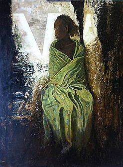 Lady in a green blanket