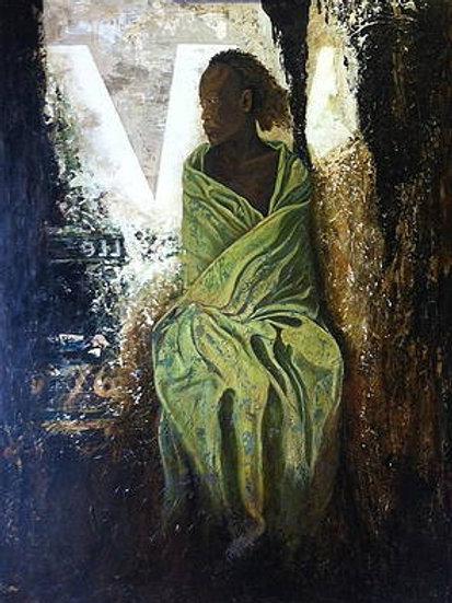 lady in green blanket
