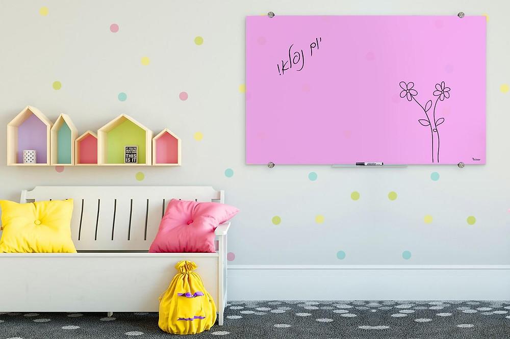 BCLEAR  לוח מחיק מגנטי מעוצב וצבעוני מזכוכית לחדר ילדים ולבית ביקליר