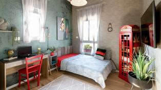 עיצוב חדר לנערה בצבעי ירוק בוהמי, אדום ואפור