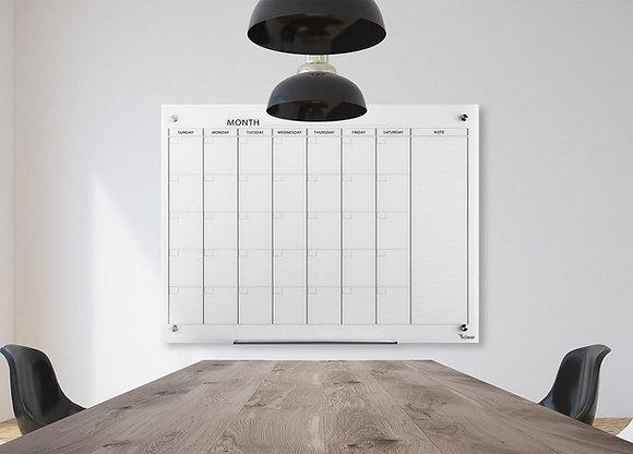 לוח תכנון חודשי לבן מחיק ומגנטי מזכוכית