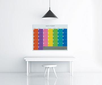 לוח מחיק, לוח תכנון חודשי, לוח צבעוני לחדר ישיבות