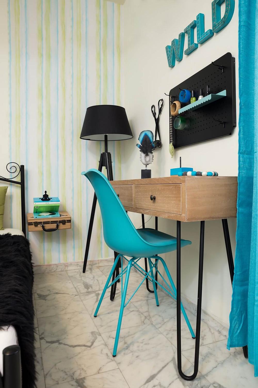 חדר מעוצב לנערה בגווני טורקיז וירוק