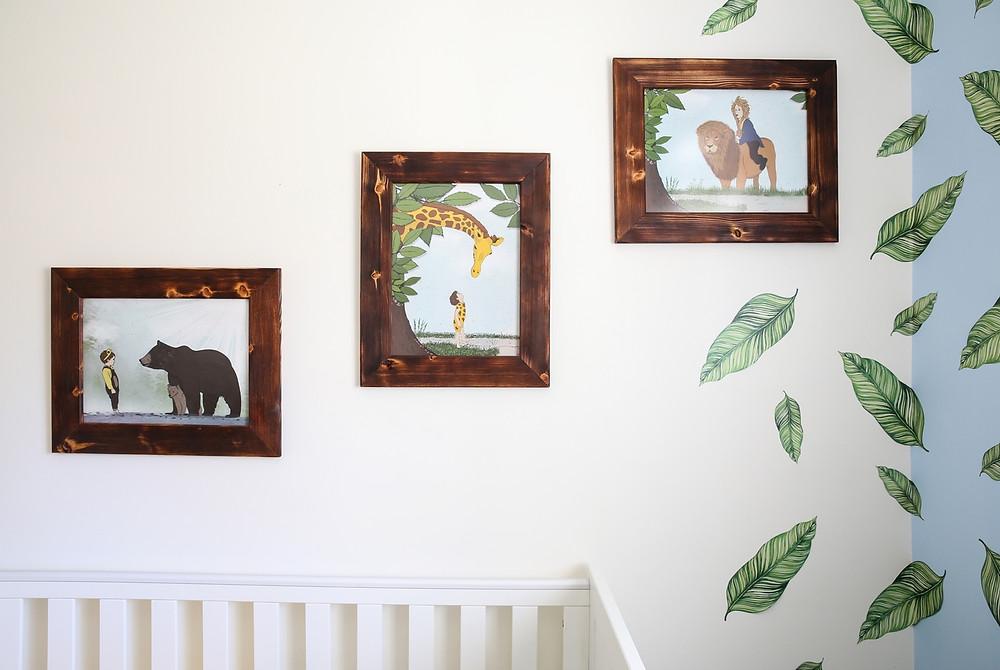 עיצוב חדר תינוקות לבן בקונספט ג׳ונגל