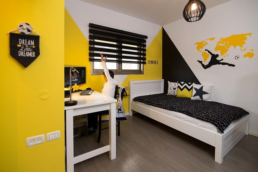 חדר ילדים מעוצב בקונספט כדורגל