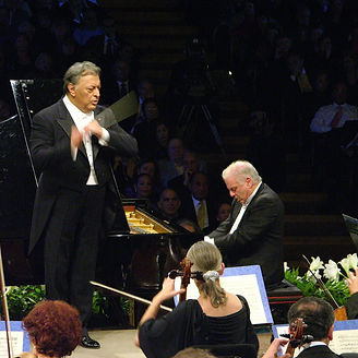 Israeli pianist Daniel Barenboim and Zubin Mehta conductor. The Israel Philharmonic 70th anniversary Gala Concert, Dec. 26th, 2006. The Mann Auditorium , Tel Aviv. Credit: Dan Porges